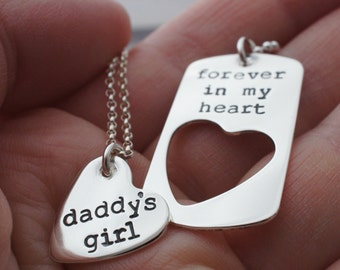 Father's Gifts - Forever In My Heart Daddy Daughter Necklace Set - Custom Heart Jewelry in Sterling Silver by Eclectic Wendy Designs