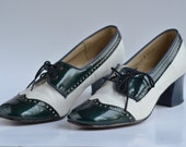 Retro 1960's Oxford Heels  Leather  Two Toned  Lace Up