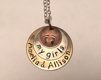Baby Footprint Mother's Hand Stamped Metal Necklace, Personalized with Children's Name