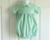 "Boys ""Jamie"" Peter Pan collar Short Bubble Romper - your CHOICE of fabrics and SLEEVE Length - 3 to 24 mos - Classic Collection"