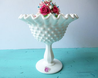 Vintage Fenton Milk Glass Hobnail Peanut Dish