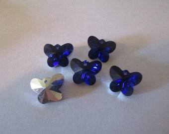 10 Blue Butterfly Glass Beads