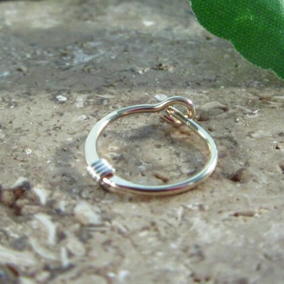 Hoop Earrings Gold Hammered & Wrapped Silver SINGLE - Tragus Earring, Rook Earring, Daith Earring, Helix Earring, Cartilage Earring, Single