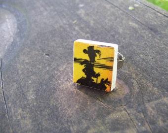 Cowboy Adjustable Scrabble tile ring
