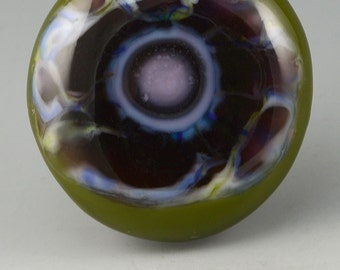 Purple Pansy ... glass CABOCHON artsy organic lampwork jewelry designer cabs  by GrowingEdgeGlass/ Mikelene Reusse