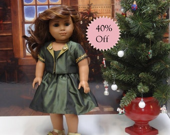 Golden Evergreen- holiday dress and jacket set for American Girl **Sale**