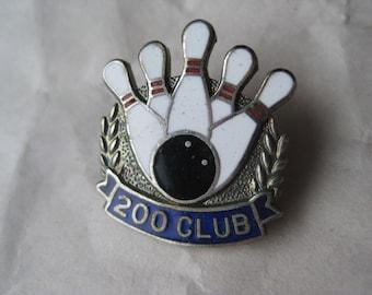 Bowling 200 Club Pin Brooch Vintage Silver Red White Blue Black Enamel
