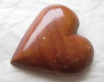 Heart Wood Brooch Brown Vintage Pin