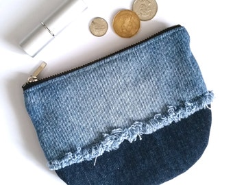 UPCYCLED Denim Pouch. Recycled Denim Change Purse. Leather Coin Purse. Frayed Denim. Jean Pouch. Floral Print.