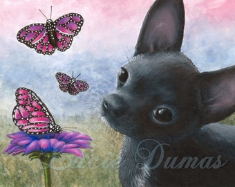 Archival Art Print Dog 91 Black Chihuahua Butterfly Pink Flower art painting by Lucie Dumas