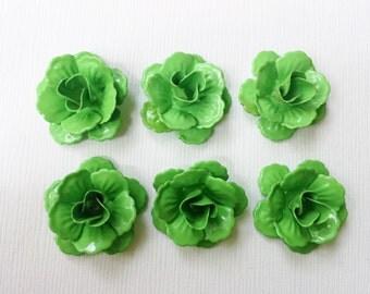 Enamel Metal Bright Green Rose Bead 24mm 6 pieces