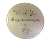 "12 Elegant Silver Foil Labels Stickers, 2"" each, For That Special Gift, Item, Order, Packaging Supplies"