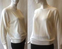Designer's Originals sweater top, classic mod cut with mock turtleneck, cream, large / 14 - 16