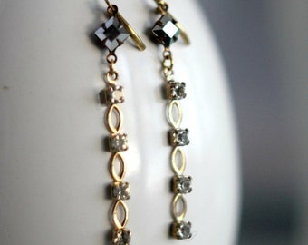 50% Off Crystal Chain Dangles, Clear Crystal Earrings, Silver Crystal, Gold Brass, Wedding