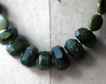Green Vesuvianite Necklace, Green Gemstone, Chunky Beads, Forest Green, Olive Green, Gold Brass. Boho Bohemian