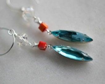 Aqua Blue Earrings, Coral Peach, Silver Dangles, Aqua Crystals, Swarovski Crystals, Vintage Crystals, Iridescent
