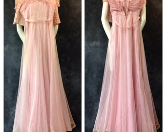 1930's pink net gown. Extra small.