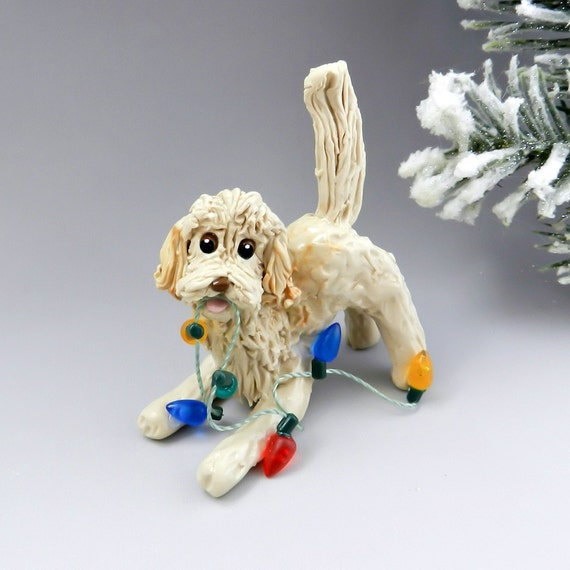 Labra Doodle Golden Doodle Christmas Ornament by TheMagicSleigh