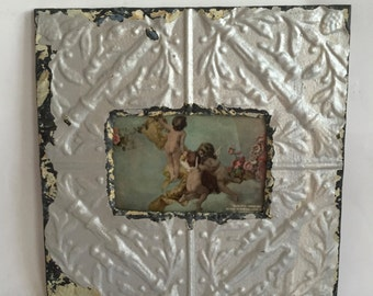 Tin Ceiling Picture Frame Silver RECLAIMED Shabby Anniversary 4x6 12-16