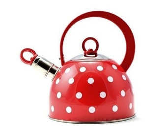 Hungarian Enamel Stainless Steel With Polka Dot Teapot Whistling Kettle 2,5l