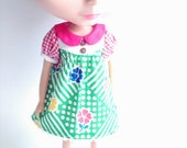 Flowers and green stripes dress for Blythe