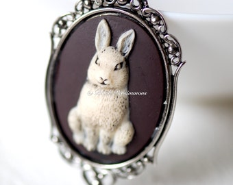 Bunny Gothic Necklace - Ivory Black Rabbit Cameo 40x30mm - Free Domestic Shipping - 2 Setting Colors