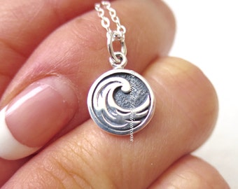 Water Element Necklace - Solid 925 Sterling Silver Feng Shui Symbol Charm - Insurance Included