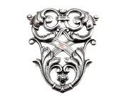 SLIGHTLY DAMAGED - Large Oxidized Silver Plated Neo Victorian Shield / Flourish / Stamping