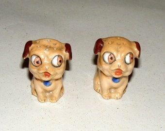 Vintage Glazed Bisque Big Eyes Pug Dogs Salt and Pepper Shakers
