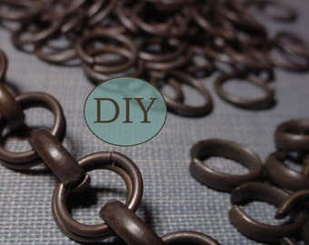 DIY KIT Per 1/2 Foot Unisex Solid Vintage Brass Large 9mm Round Cable Chain Maille Bracelet Choker Neckchain Watch Fob Dark Brown Patina 9O