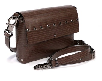 Brown Crossbody Bag   Dark Brown Handbag   Vegan   Made in USA