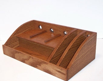 Charging Station / Docking Station with slots for iPad, Kindle, Nook, iPhone, cell phone Handcrafted in Oak with attached power strip