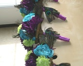 Peacock Feather WEDDING Bouquets, Boutonnieres, Pomanders Silk Flower 16pc Set in Purple, Lime Green, Turquoise for Ultimate Peacock Wedding