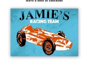 The Racing car for children -  customize , Kids Art Prints, nursery decorating ideas, transport, nursery decor, baby boy nursery