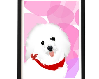 Coton De Tulear dog art  - Fine art print, Coton De Tulear  dog, silhouette , illustration , Gift Ideas