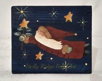 Santa Shelf Sitter, Chunky Wood, Primitive, Hand painted, Christmas, Folk Art