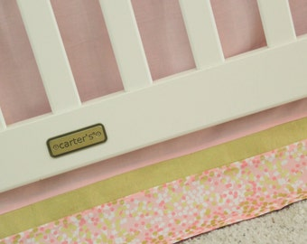 Blush Pink and Gold Confetti Crib Skirt, Flat Style - Ready to Ship