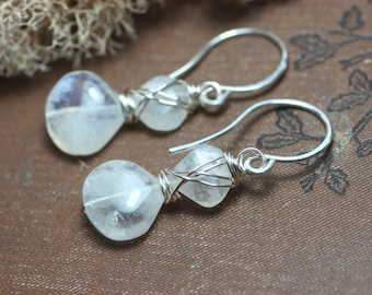 Moonstone Earrings Rustic Jewelry Silver Wire Wrapped Gemstone Earrings Silver Earrings