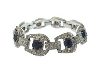 Antique Sapphire Bracelet, Art Deco Sapphire Rhinestone Cuff, 1920s Fine Antique Statement Bracelet, Vintage Wedding Jewelry, Deco Jewellery