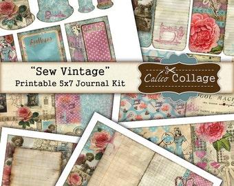 Sew Vintage Digital Journal Kit, Sewing Ephemera, Junk Journal, Digital Collage Sheet, Printable Ephemera, CalicoCollage, Journal Pages