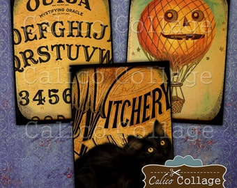 Vintage Halloween, Digital Collage, Collage Sheet, Halloween Images, Printable Tags, Gift Tags, Journaling Cards, Journal Cards,