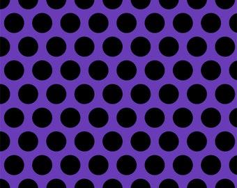 Purple with black dots 1 yard knit cotton lycra