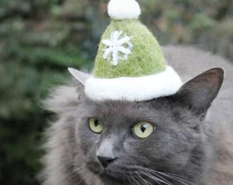 Christmas Cat Hat -  Holiday Cat Hat - Winter Cat Hat