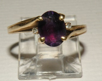 10k Yellow Gold Amethyst Ring Size 8