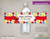Custom Elmo Water Bottle Label Template, Sesame Street Birthday Party Decoration, Instant Download #B103-B