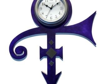 Prince Clock, Prince Symbol, Wall Clock, Wall hanging, Unique, Purple clock, Wall sculpture Clock