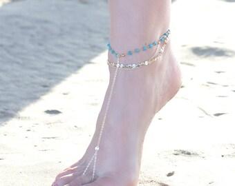 MADDIE BAREFOOT SANDAL- triple chain anklet / foot chain / barefoot sandal / body jewelry / anklets / turquoise anklet