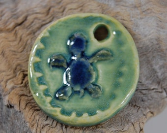 Baby Sea Turtle Pottery Pendant - Jewelry Supplie - Sea Spray Glaze J11