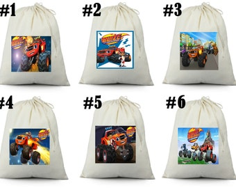 12 Blaze and the monster machine  Birthday Party Favor Candy Loot Treat Drawstring Bags
