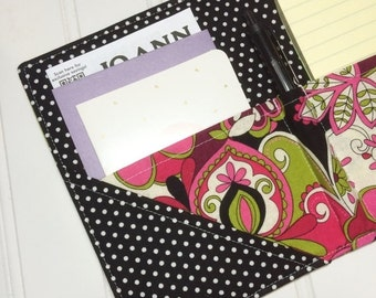SUMMER SALE - Mini Shopper - Notepad holder List taker - Pink Party paisley